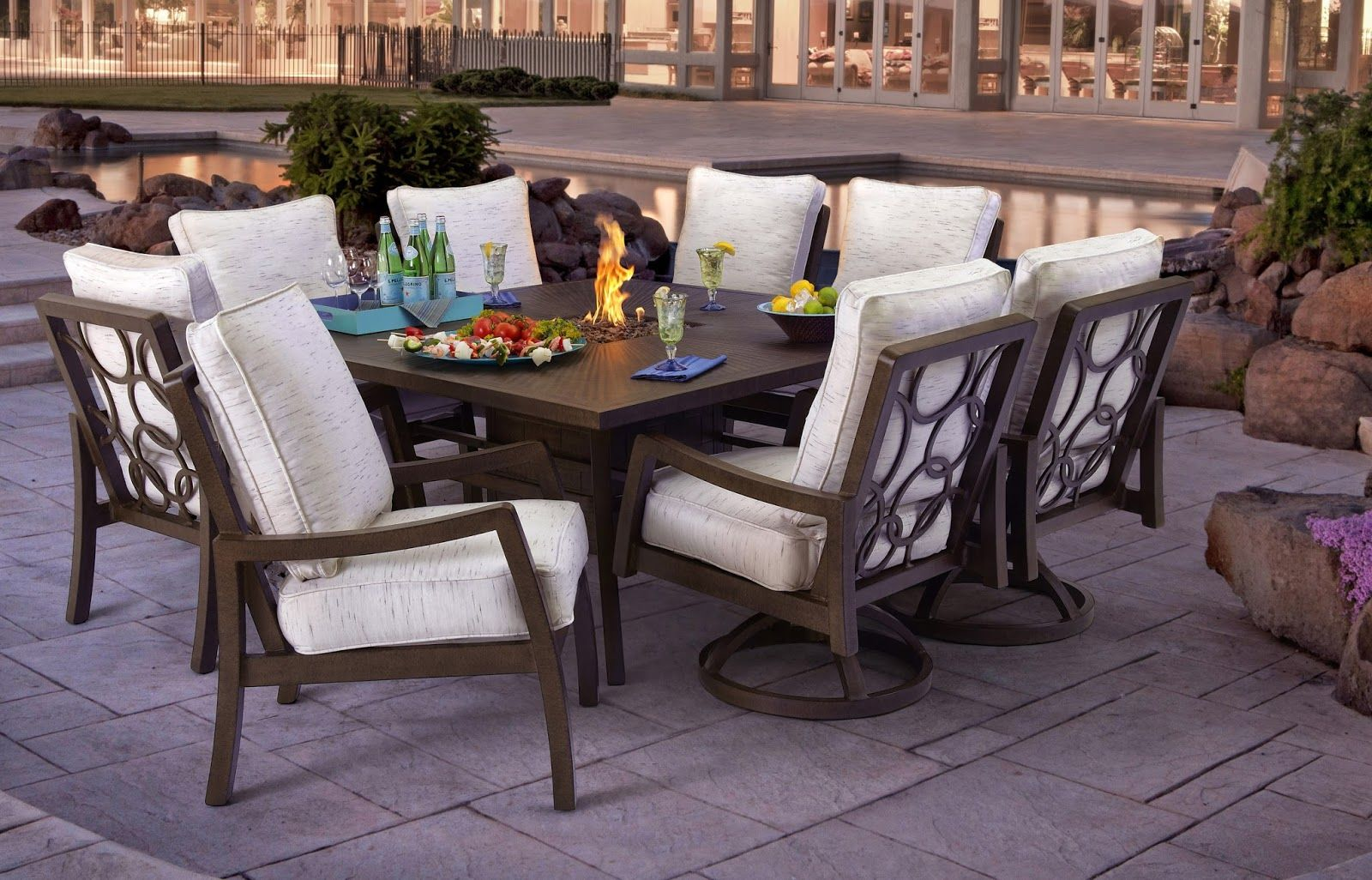 Outdoor Stone Top Square Dining Table 8 Seats The