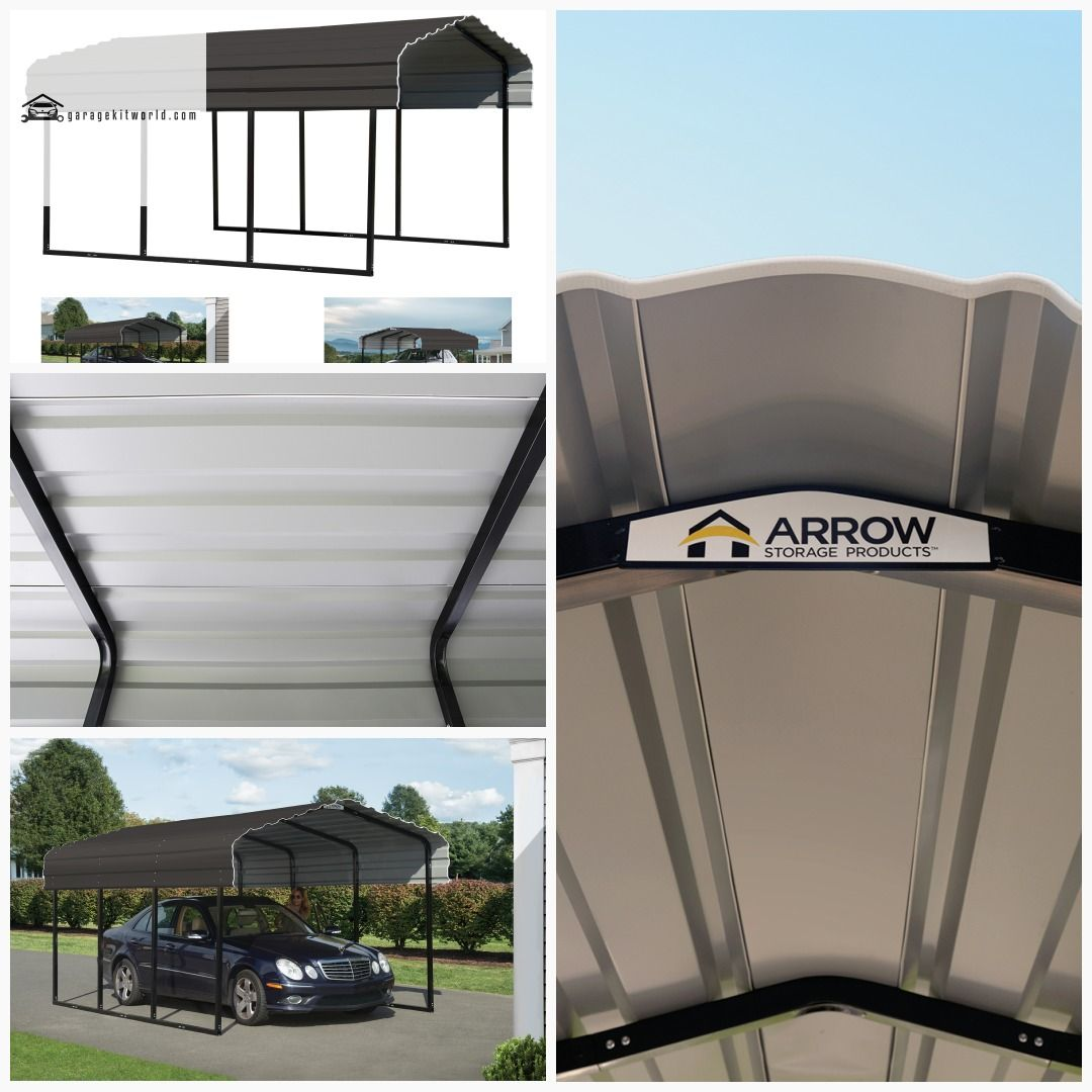 Arrow Galvanized Black/Charcoal 10 x 24 x 7 ft. Steel