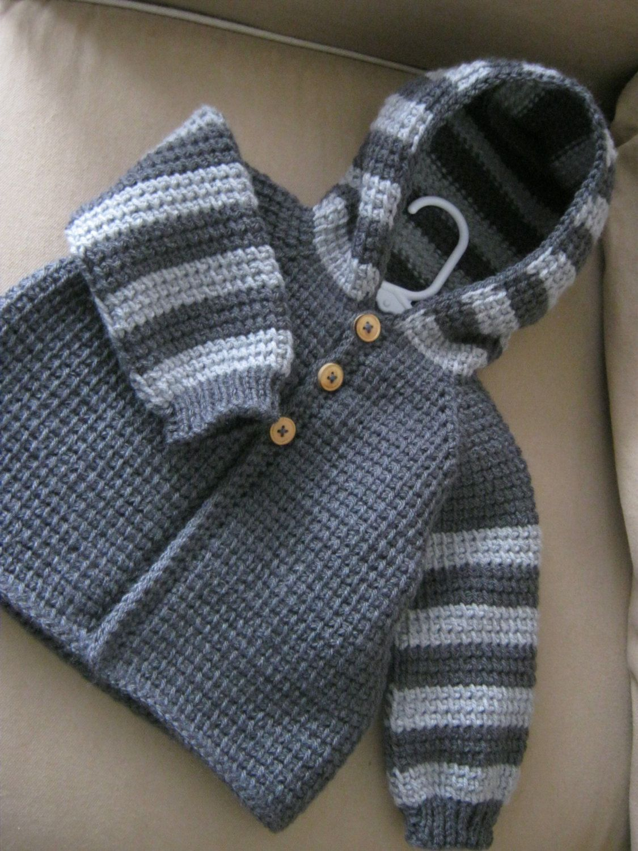 Crochet baby boy or girl sweater with hood dark grey and light crochet baby boy or girl sweater with hood dark grey and light grey made to order tunisian crochet handmade bankloansurffo Gallery