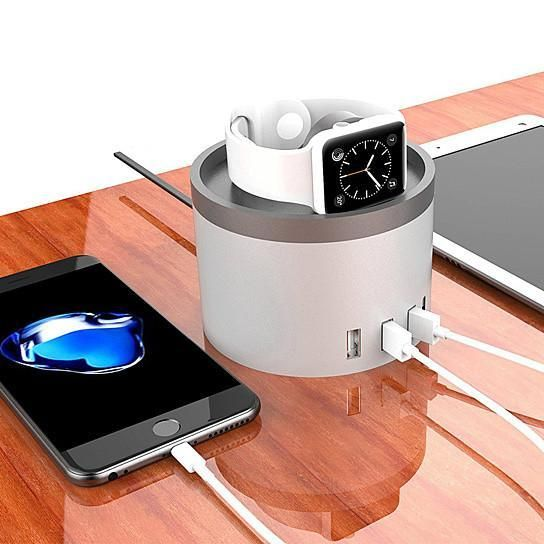 Home Base Charging Station For Multiple USB charging and smart watch charging port.