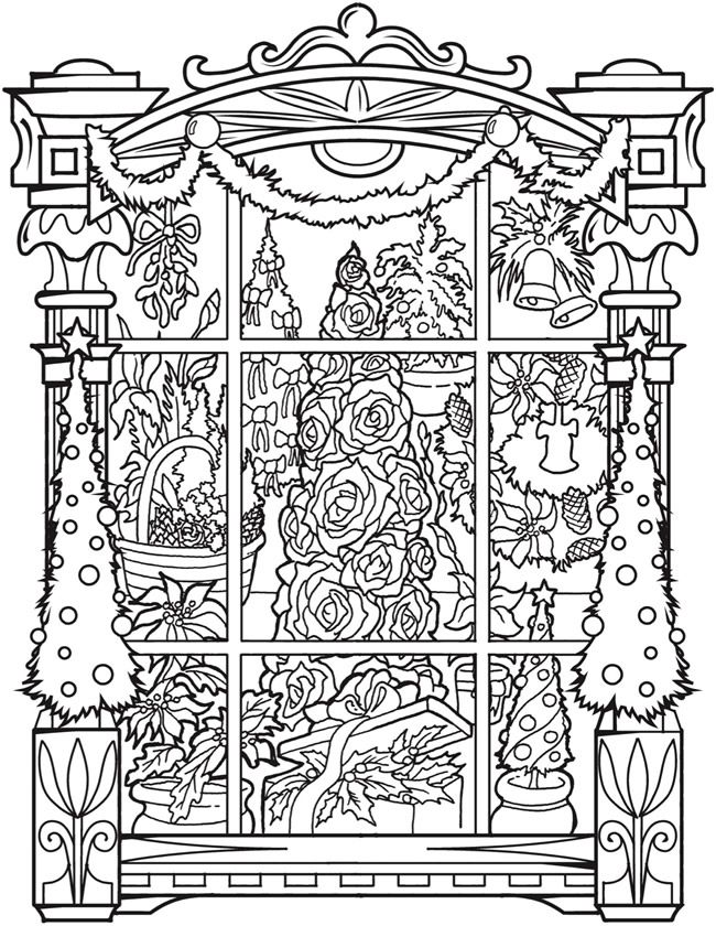 Welcome To Dover Publications Ch Vintage Christmas Windows Pattern Coloring Pages Christmas Coloring Pages Coloring Pages