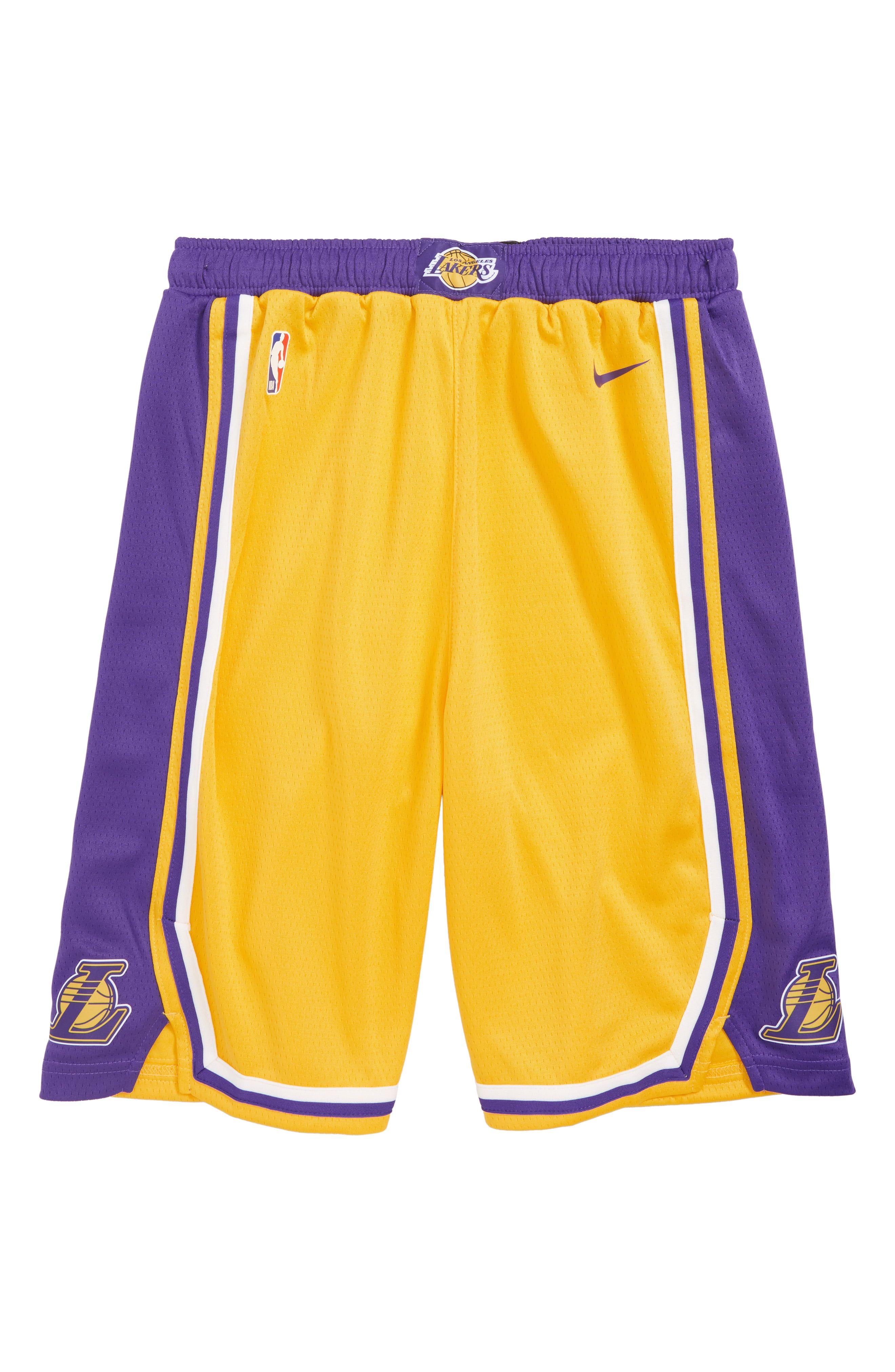 Boy S Nike Icon Los Angeles Lakers Basketball Shorts Size L 14 16 Metallic Los Angeles Lakers Basketball Basketball Shorts Lakers Basketball