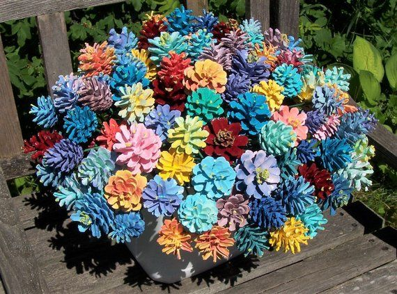 Pine Cone Flowers, THE ORIGINAL, One Dozen. Painted Pine Cones on 12-inch Wood Stems. Bouquet. Gifts for women.