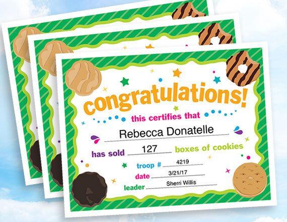 Cookie Sales Congratulations Certificate instant download – Congratulations Certificate
