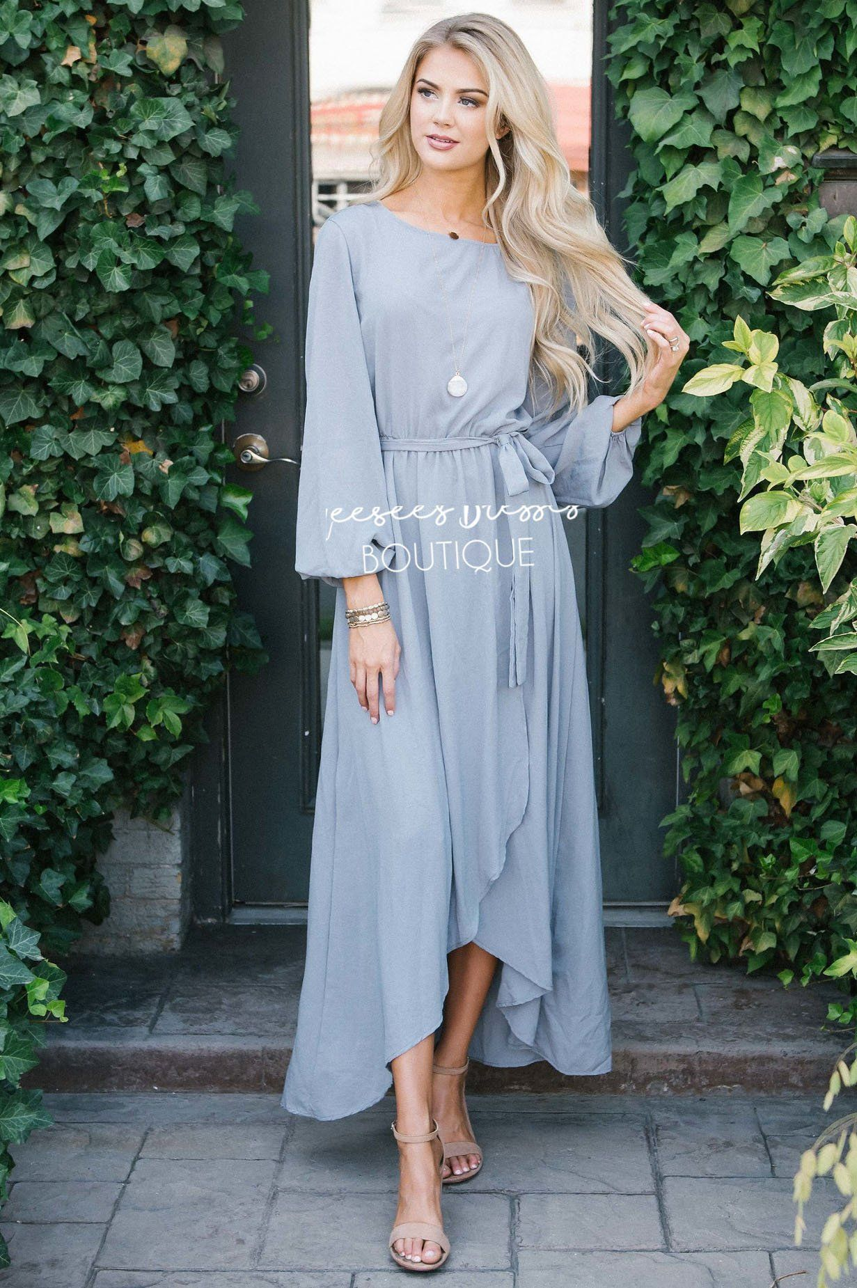 d20f94492d3e Light Gray Wrap Dress Modest Church Dress | Best and Affordable Modest  Boutique | Cute Modest Dresses and Skirts for Church - Neesee's Dresses
