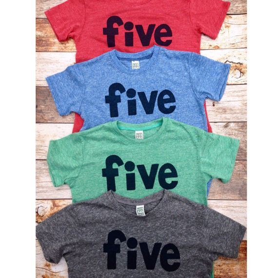 Boys 5th Birthday Shirt Navy Five On Red Green By CaptainJacks