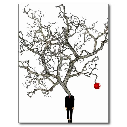 red bright apple tree and abstract man silhouette postcard