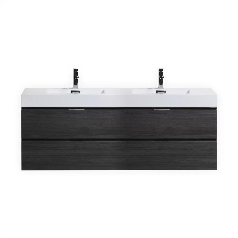 Wade Logan Tenafly 72 Wall Mount Double Bathroom Vanity Set Reviews Wayfair In 2020 Modern Bathroom Vanity Modern Bathroom Double Vanity Bathroom