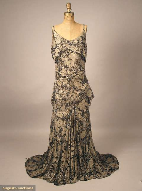 Printed Chiffon & Lame Evening Gown, C. 1935, Augusta Auctions ...