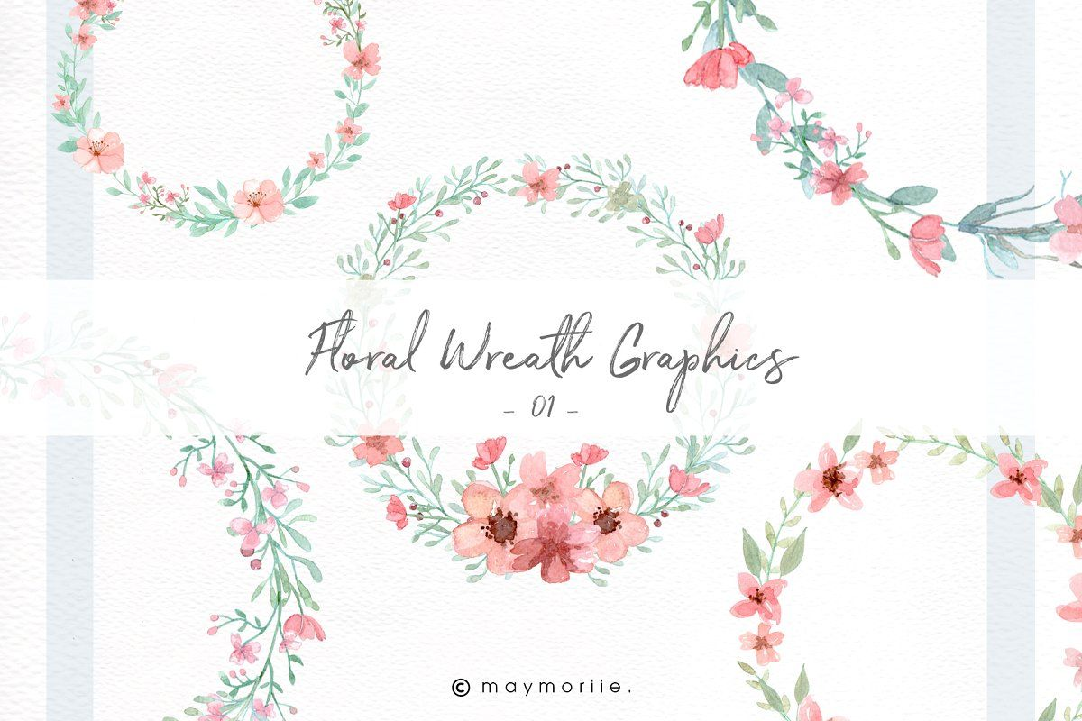 Blushpink Watercolor Floral Clipart Graphic Wedding Invitations Floral Watercolor Floral Wreath Graphic