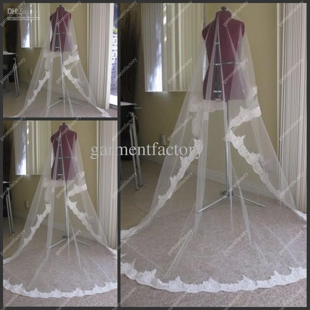 2012 Hot Sales Lace Trim Long Wedding Veils White Netting Chapel Train Bridal