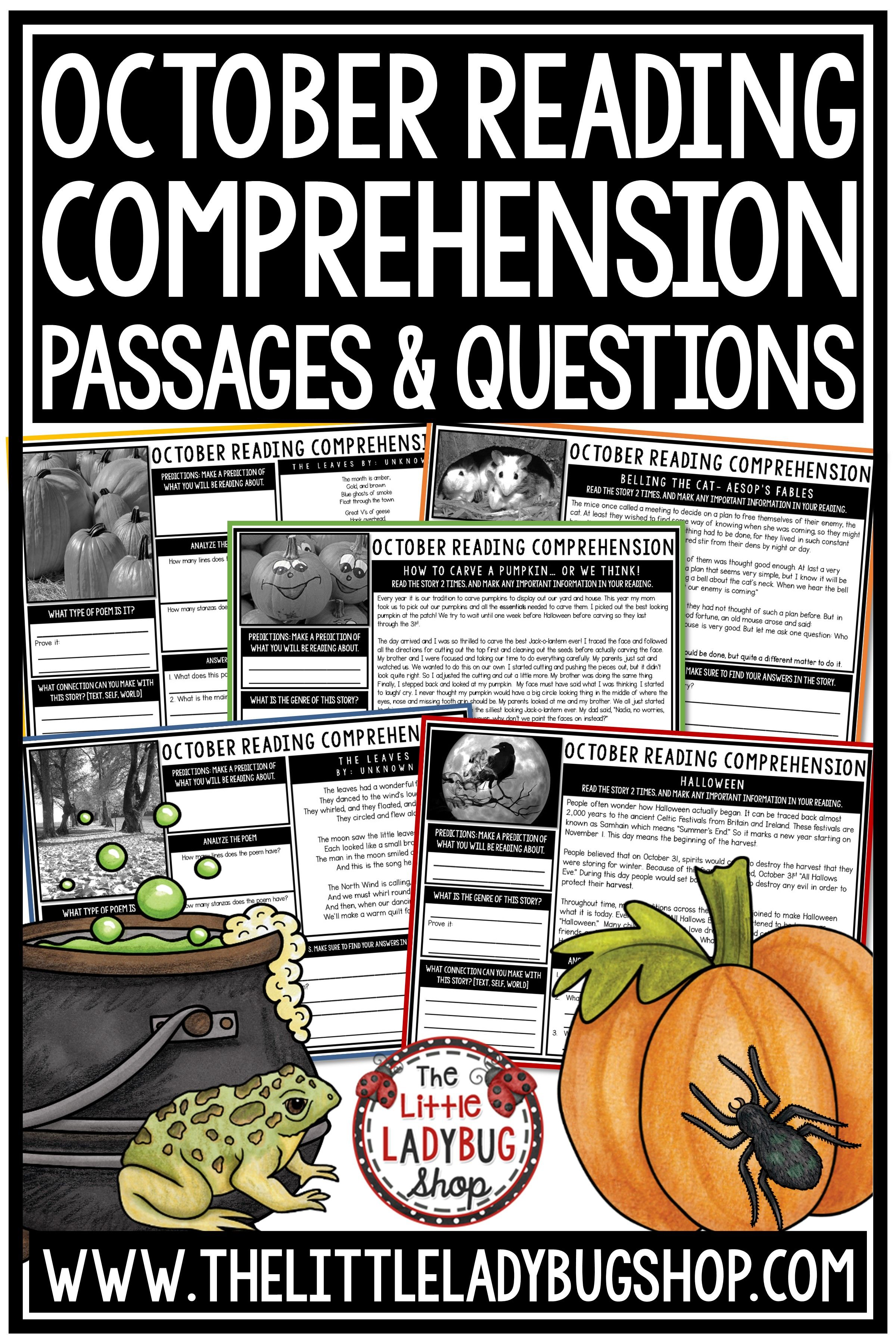 You Will Love Growing Your Readers With The October Reading Comprehension Passages W Reading Comprehension Passages Reading Comprehension Comprehension Passage [ 3600 x 2400 Pixel ]