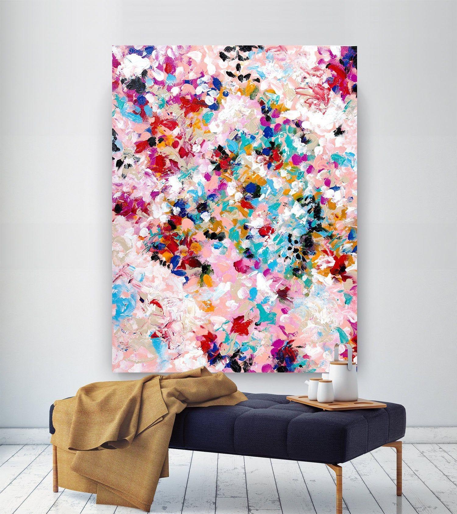 Extra große Wandkunst auf Leinwand, Original abstrakte Gemälde, zeitgenössische Kunst, Mdoern Wohnzimmer Dekor, Büro Oversize Kunstwerke lac637
