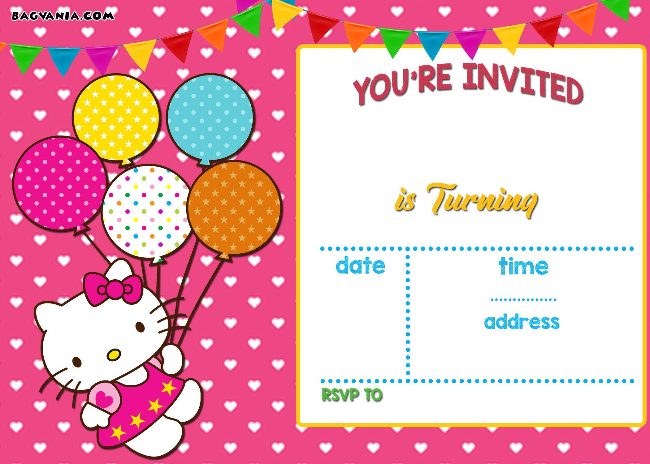 hello kitty birthday invitations free printable