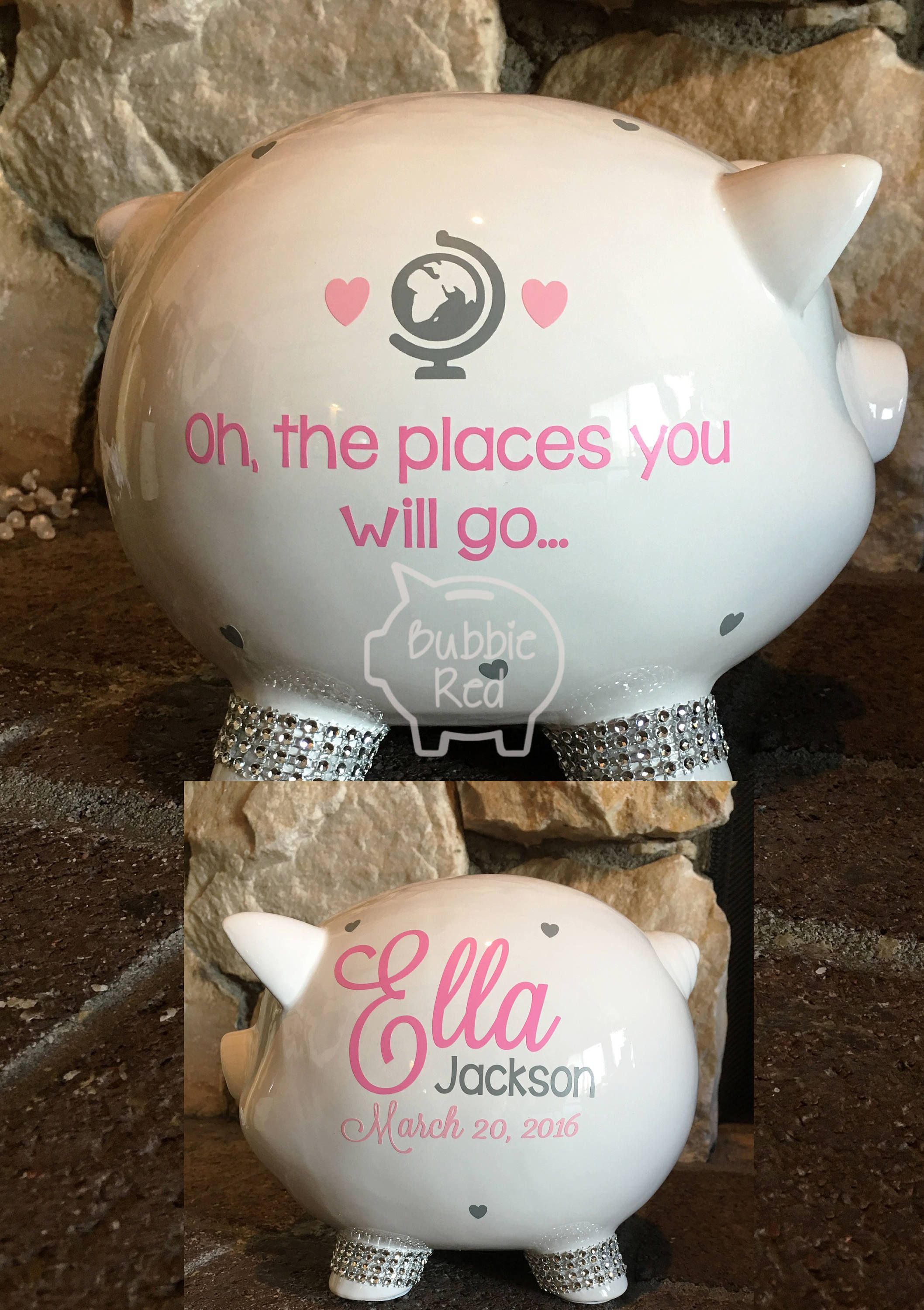 Dr Seuss Personalized Piggy Bank Oh The Places You Ll Go Baby Boy Piggy Bank Baby Girl Piggy Bank By Bub Piggy Bank Diy Baby Christmas Gifts Diy Baby Gifts