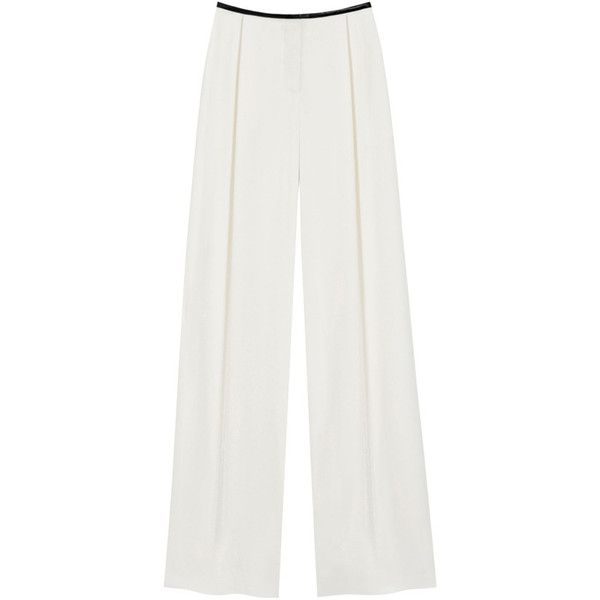 Oversized Wide Leg Trouser Cream Fluid Crepe Satin (7.340 ARS) ❤ liked on Polyvore featuring pants, cream trousers, crepe trousers, satin trousers, oversized pants and wide-leg trousers