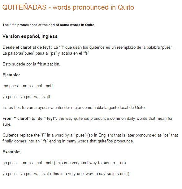 QUITEÑADAS - words pronounced in Quito
