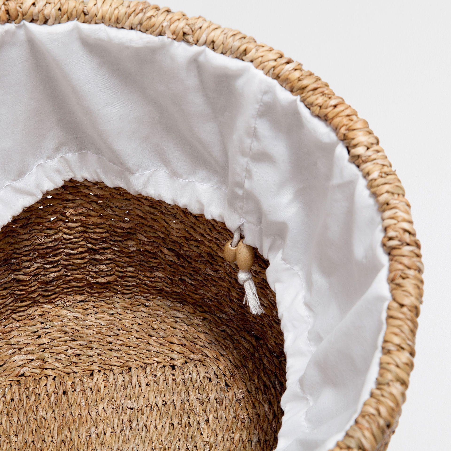 Cesto De Roupa Fibra Vegetal Cestos Decoração Zara