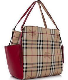 Burberry Haymarket Panels Small Canterbury Tote - Military Red ... 60b6a14b9b