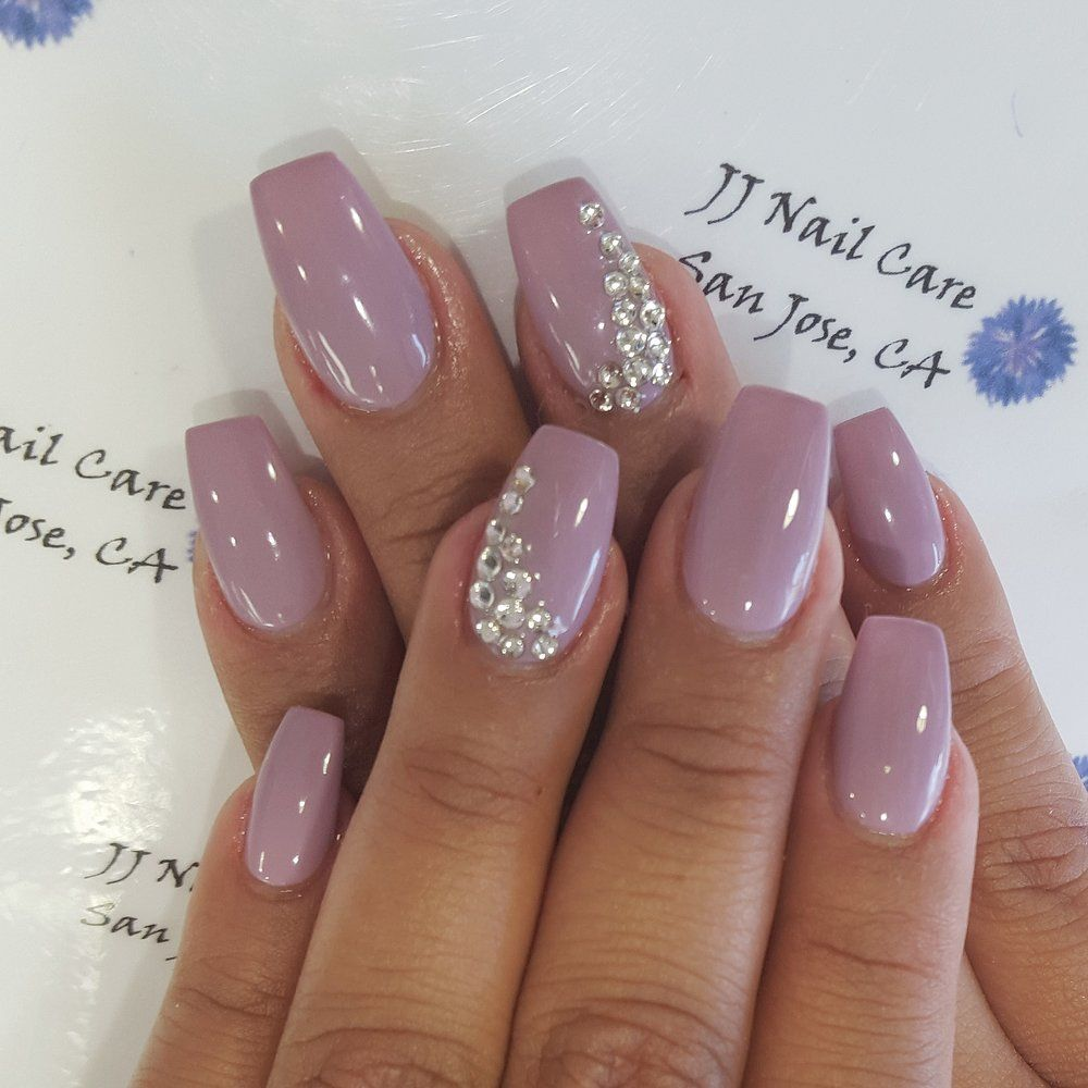 Shellac Nail Coffin Shape With Rhinestone Design By Linh Yelp