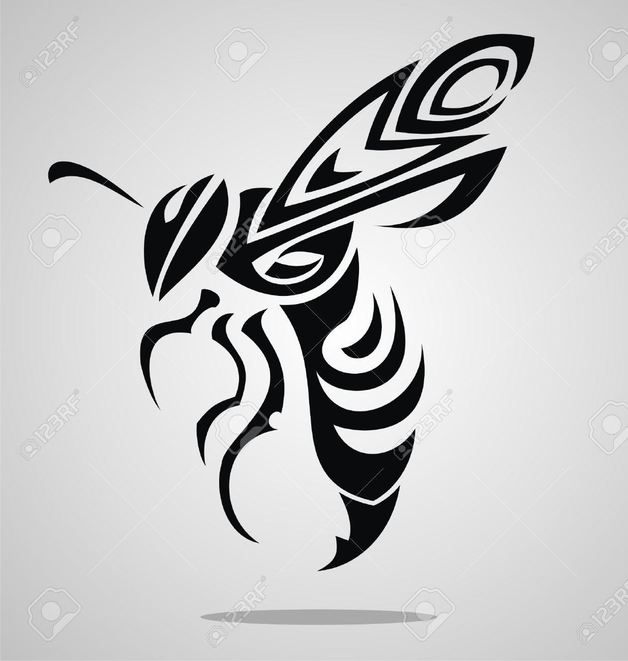 Black-Tribal-Bee-Tattoo-Stencil.jpg (1235×1300) | Bees ...