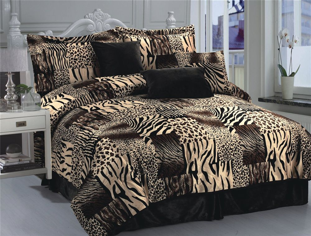 Details About 7pc Multi Animal Print Microfur Comforter Set Twin