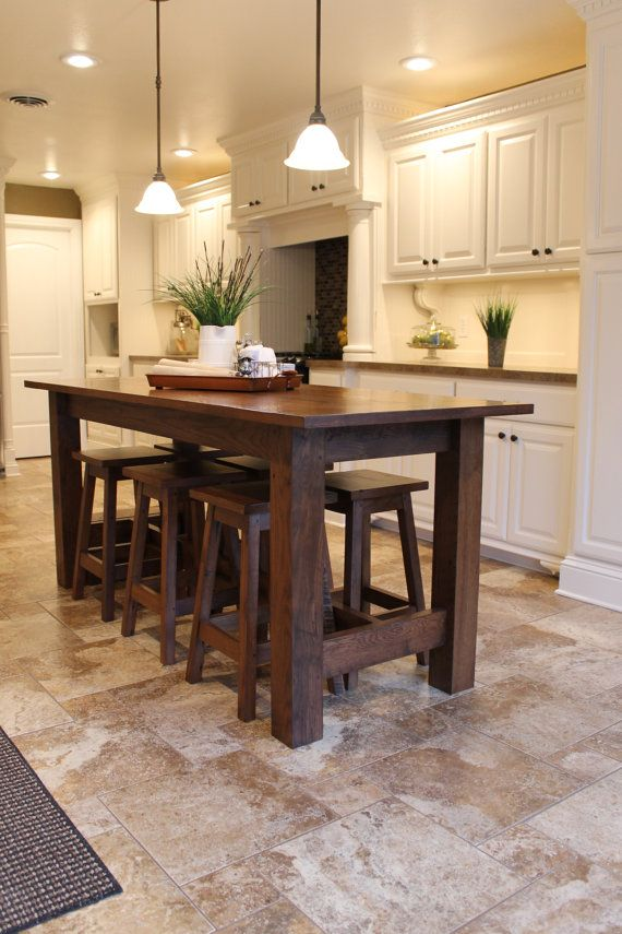 Rustic Farmhouse Bar Island Table With 6 Barstools Etsy Rustic Kitchen Kitchen Island Table Kitchen Island With Seating