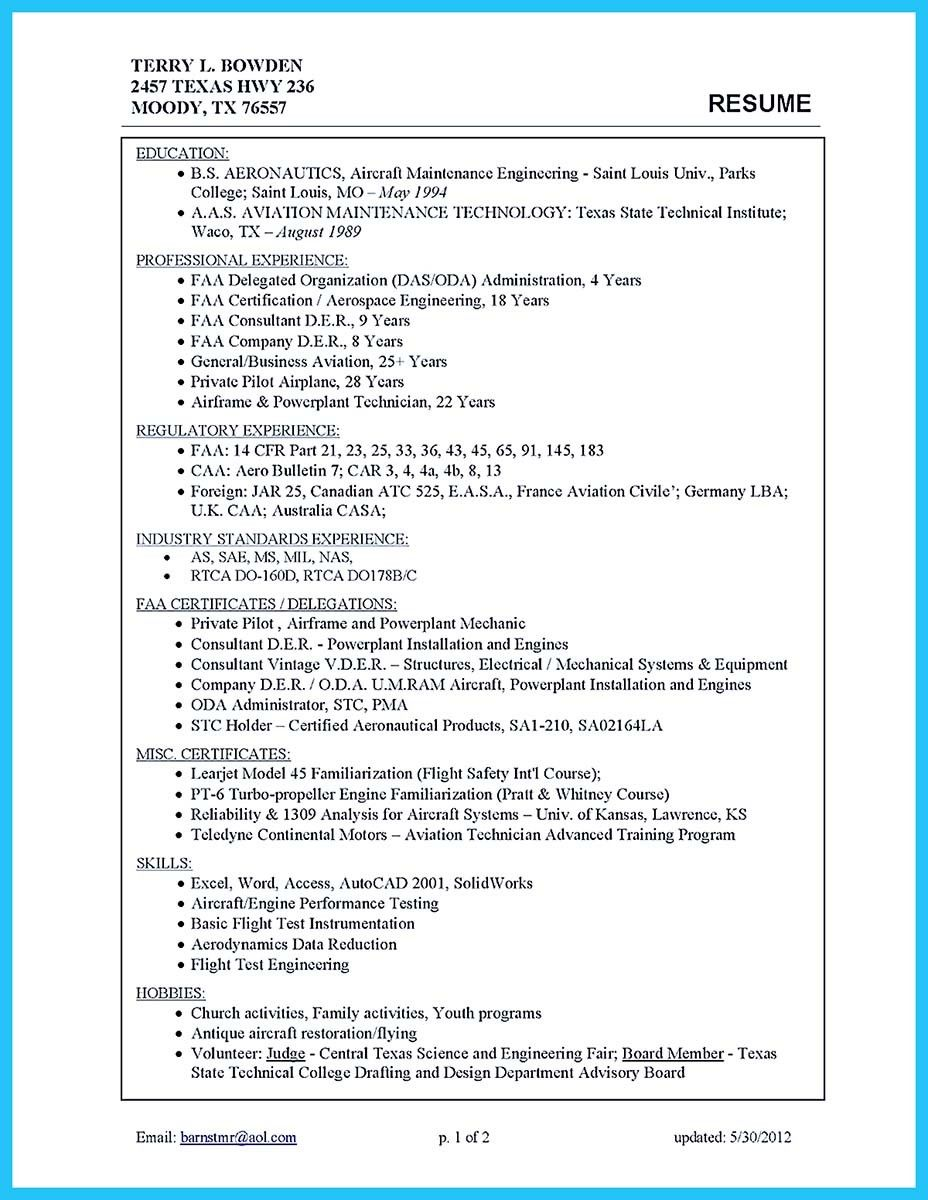 Aircraft Mechanic Resume Pin On Template Writing Sample