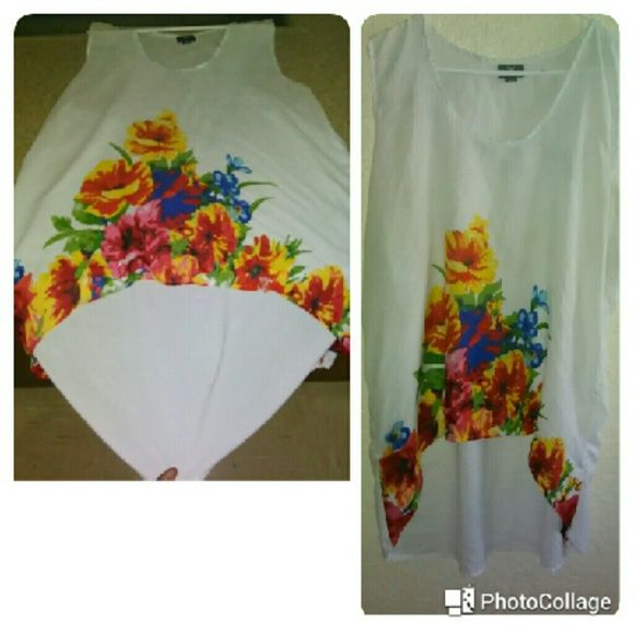 Hi-Low Floral Tank Small tear on left bottom Tops Tank Tops