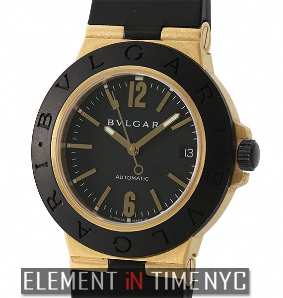 Bvlgari Diagono Sport 38mm Black Dial 18k Yellow Gold And Rubber Ref  AI  38 G ( 5 0d97068447d