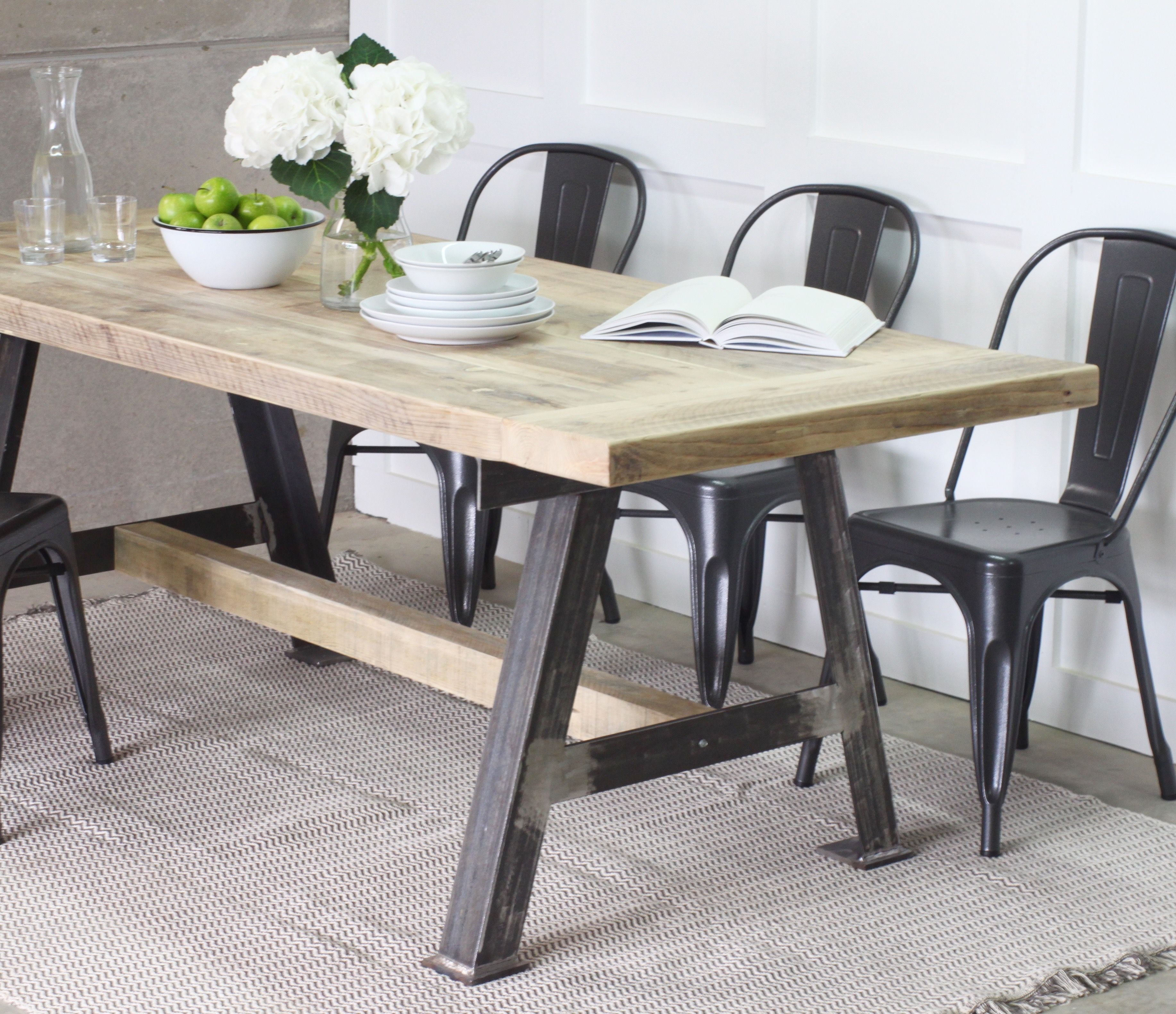 Reclaimed kitchen table  AGame  Industrial dining Reclaimed wood dining table and Steel
