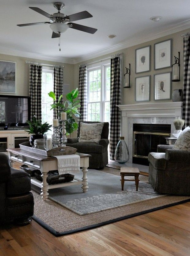 A buffalo check redux with lauren from the endearing home - Curtains for living room and dining room ...