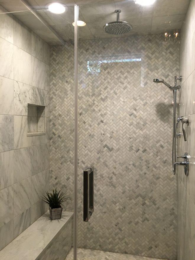 Herringbone Shower Tile Shower Tiles Honed Carrara Marble 12 X 12 And Mosaic Bathroom Decor Shower Tile Bathroom Floor Tiles