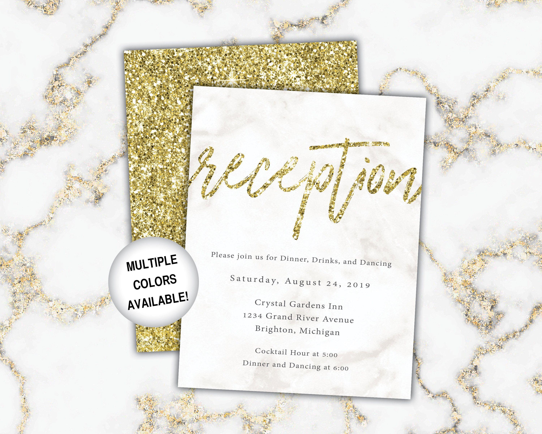 Gold Wedding Reception Cards Wedding Reception Cards Gold Etsy Wedding Details Card Wedding Reception Cards Wedding Cards