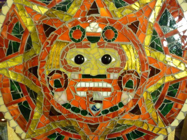 Stained Glass Aztec Calendar Mosaic | Aztec calendar, Mosaics and Glass