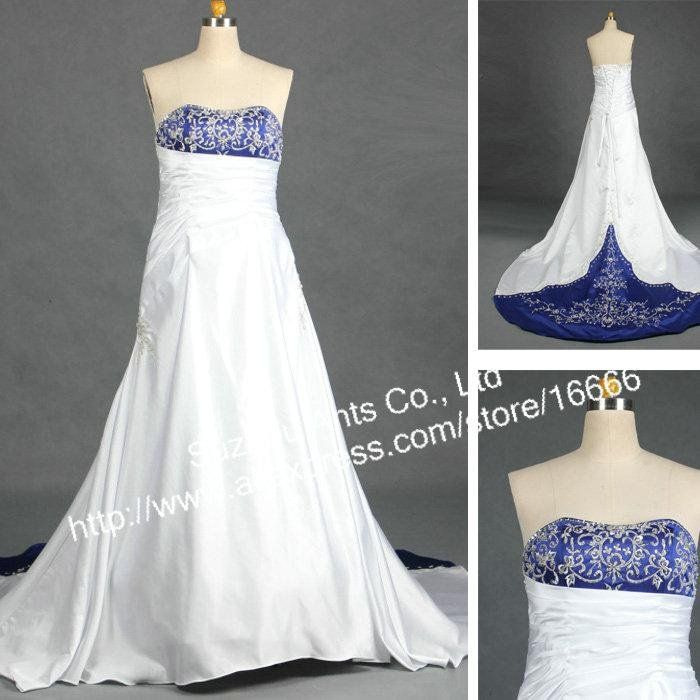 Royal blue and silver wedding dress for Silver and white wedding dresses