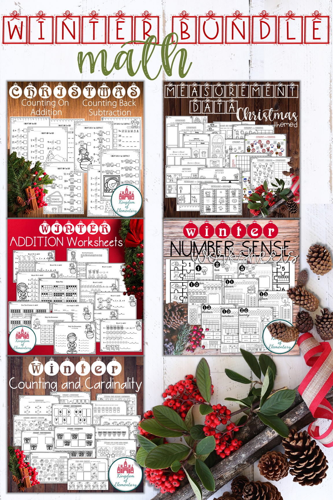 Winter Math Worksheets Bundle
