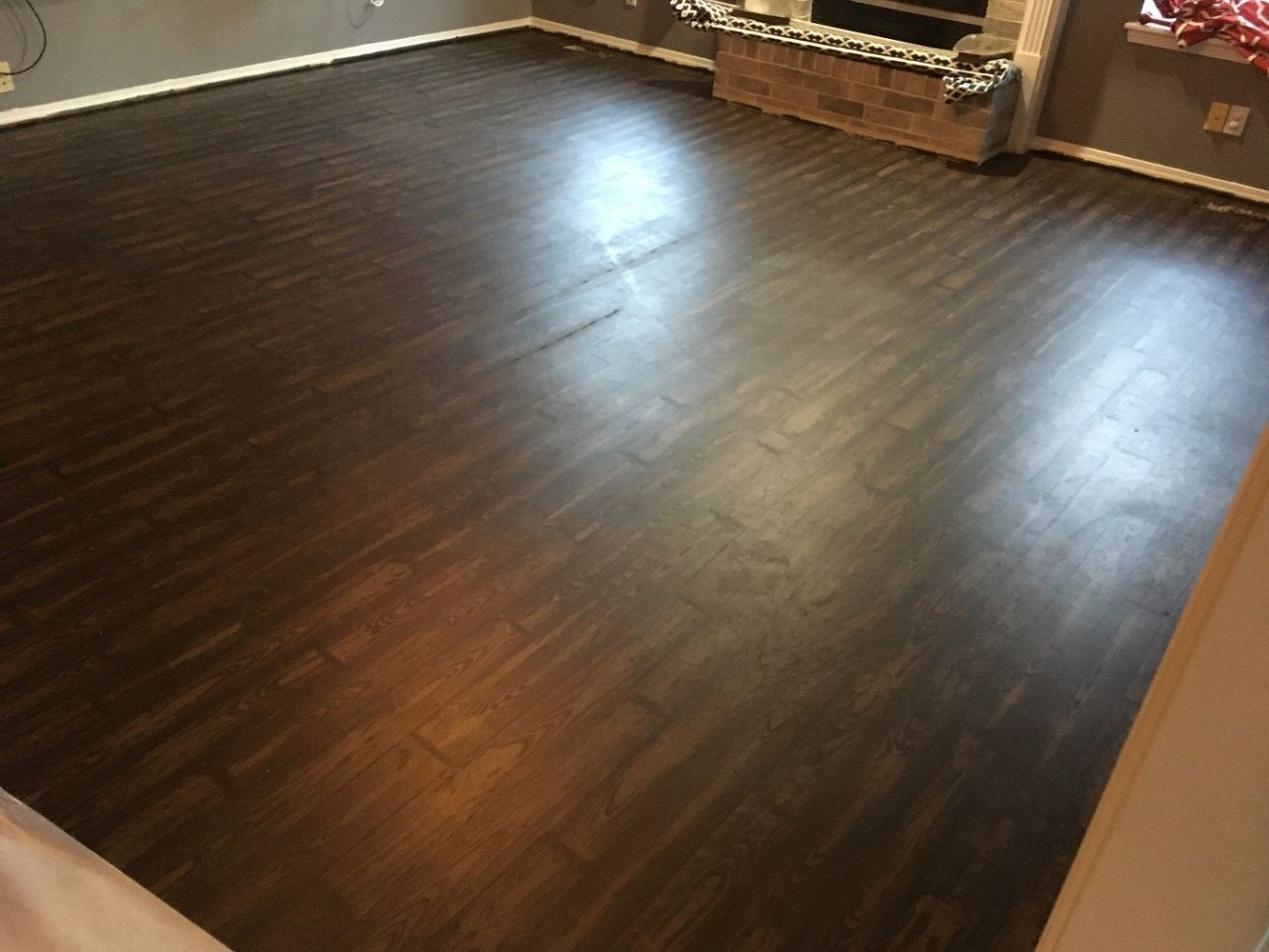 How To Transform Your Old Carpet And Linoleum Floor To Faux Wood Faux Wood Flooring Linoleum Flooring Diy Wood Floors