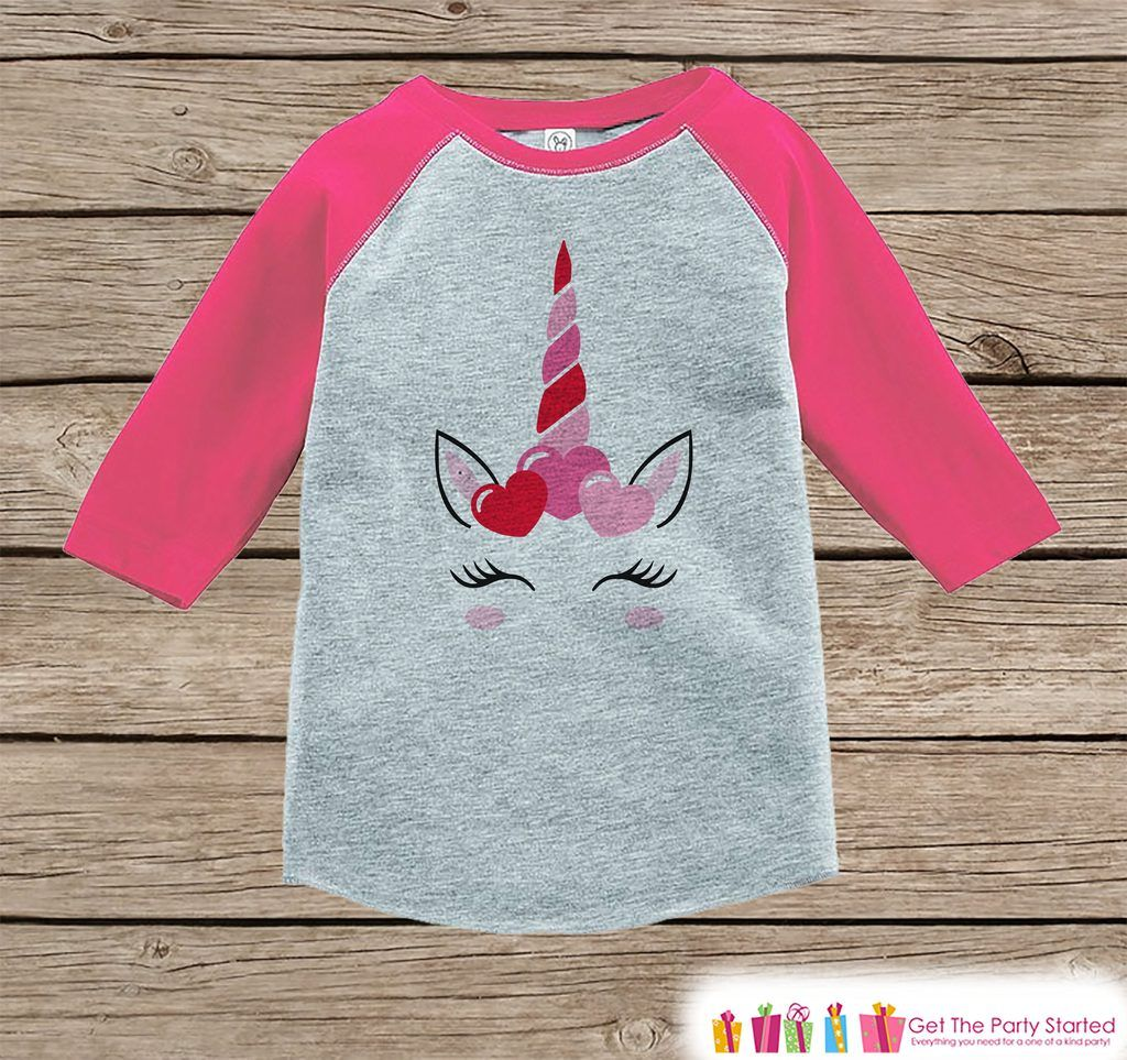 Girls Unicorn Shirt - Pink Heart Crown - Unicorn Valentine\u0027s Day ...