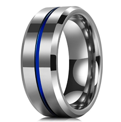 Stunning Tbl Blue Ionic Tungsten Ring Tungsten Carbide Wedding Bands Engagement Rings For Men Engagement Ring Wedding Band