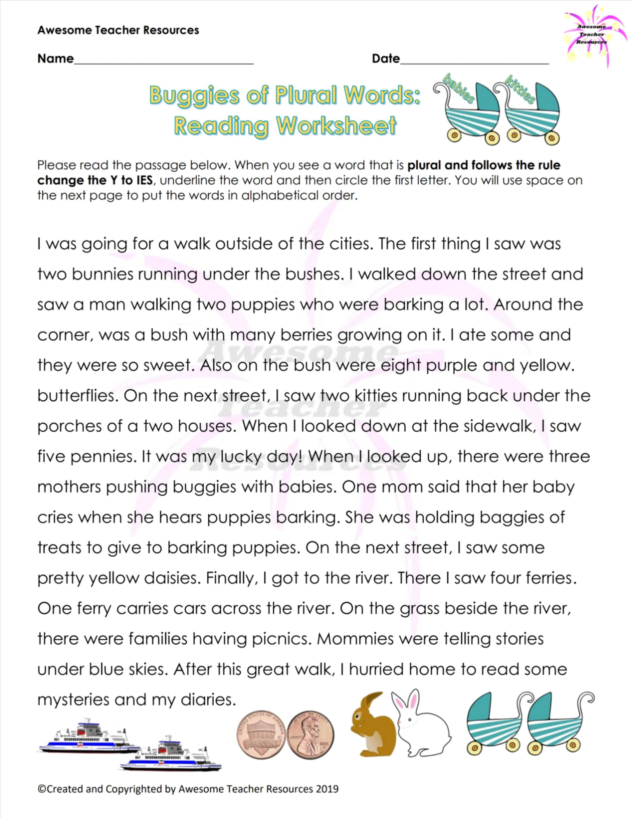 Buggies Of Plural Words Reading Worksheet
