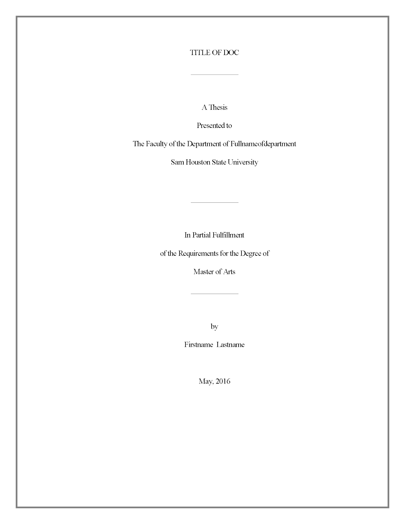 Title Page Thesi And Dissertation Research Guide At Sam Houston State University Paper Format