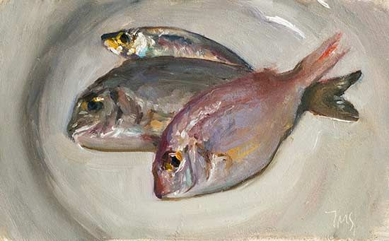 daily painting titled Three little fishes - click for enlargement