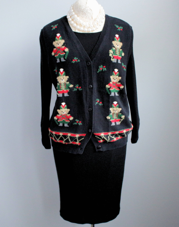 Black Vintage Vest, Nutcracker Bears, Cotton Knitted Vest