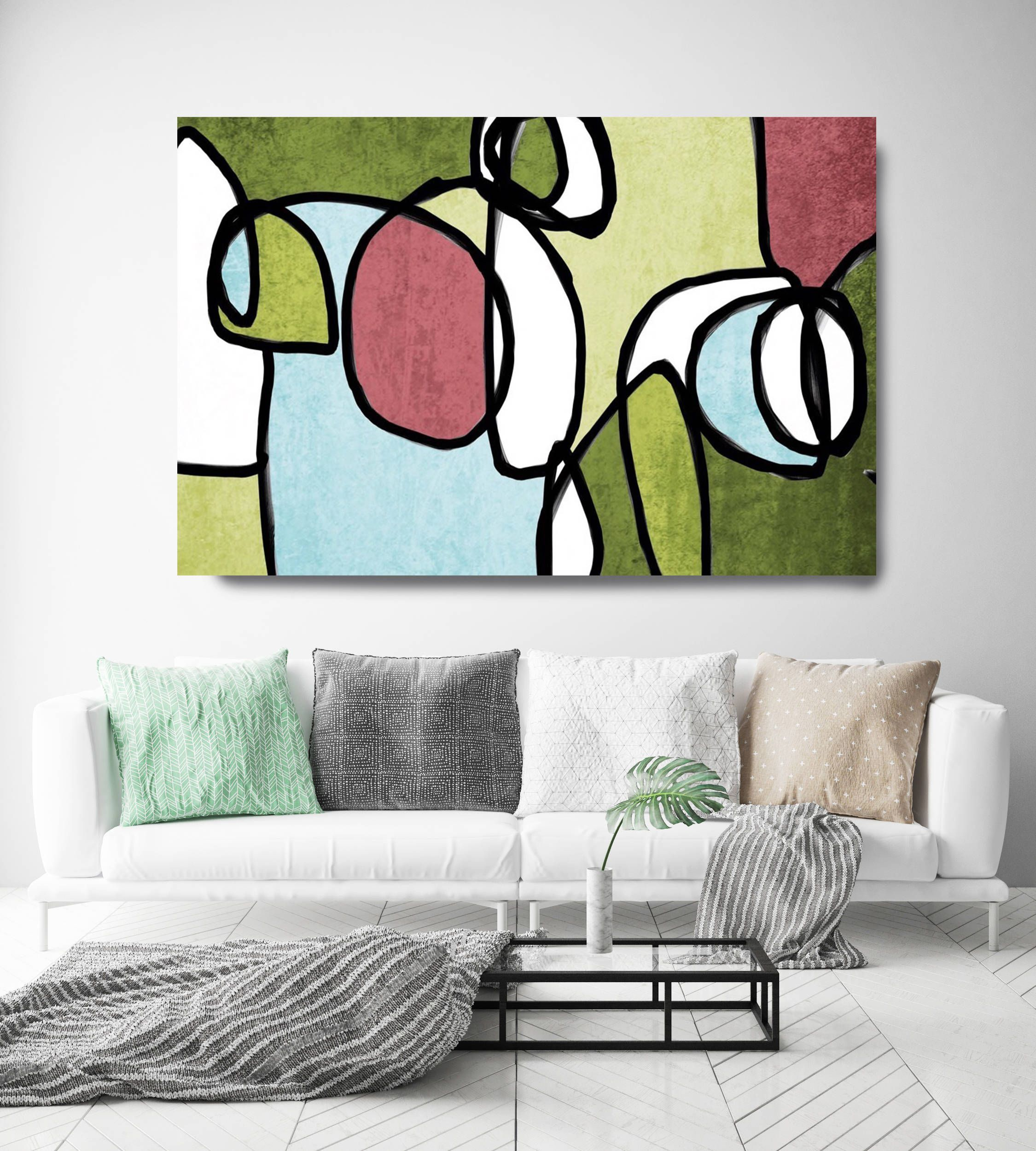 Vibrant colorful abstract midcentury modern green pink canvas
