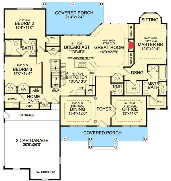 Plan 3878JA Rustic Split Bedroom House Plan Dream house