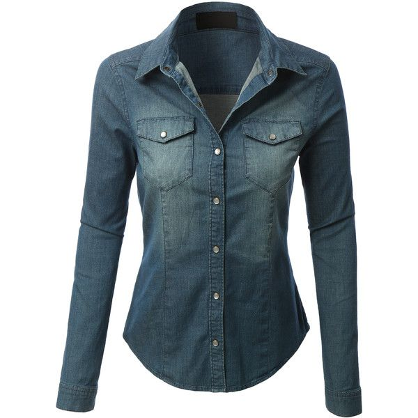 e510202e23 LE3NO Womens Long Sleeve Chambray Denim Shirt ( 24) ❤ liked on Polyvore  featuring tops