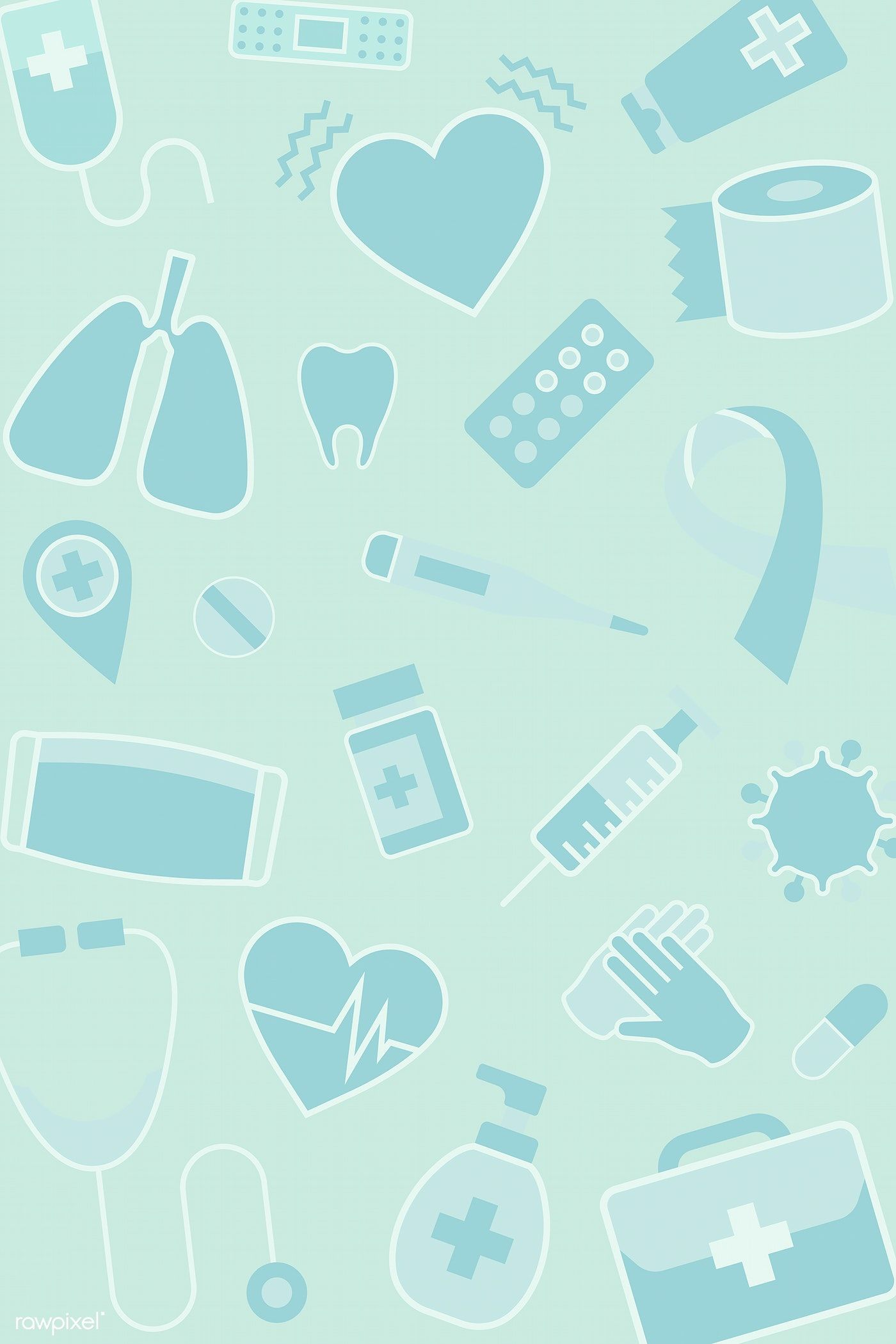 Green medical patterned background vector free image by