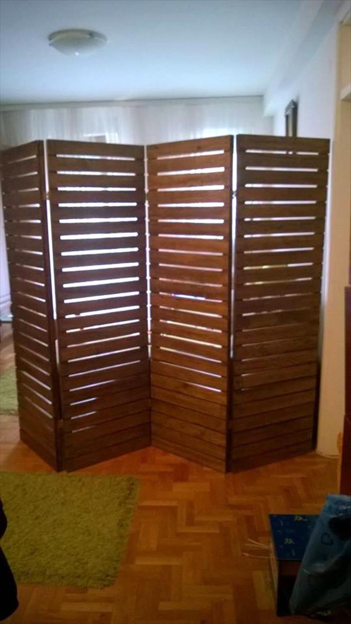Upcycled pallet room divider divider pallets and room