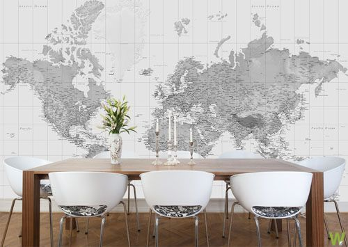 Waanzinnige wereldkaarten home pinterest calico corners black and white world map wallpaper by watts london gumiabroncs Image collections